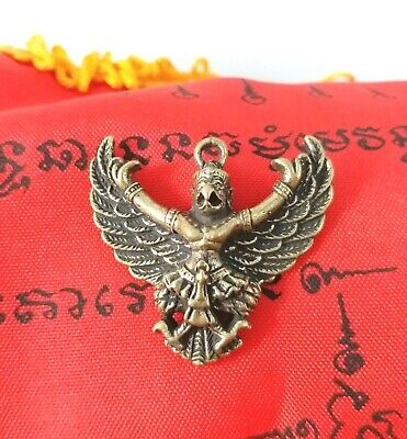 PHAYA KRUT Thai Amulet Brass Magic Luck Protect Wealth Pendant Talisman LP.SENG