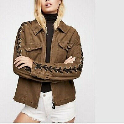 a6bd8be620 Free People Womens Faye Military OB821205 Jacket Relaxed Military Brown  Size XS
