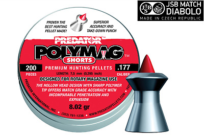 JSB Predator Polymag Shorts Air Rifle Pellets .177, .22, Tin or Sample Packs