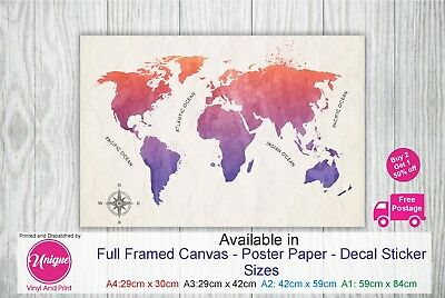 GIANT MAP OF THE WORLD WATERCOLOUR POSTER WALL BRAND NEW Sizes  A0 A1 A2 A3 A4