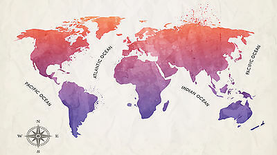 MAP OF THE WORLD WATERCOLOUR VINYL STICKER WALL ART DECAL Sizes - A1 A2 A3 A4