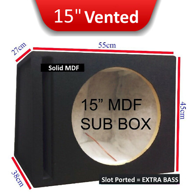 "15"" Inch heavy duty Ported Carpeted Car Subwoofer MDF box for competition subs!"