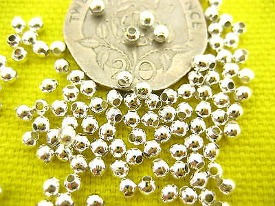 Je12 200ps quality Silver Plated Spacer Beads for Jewllery Making Round beads