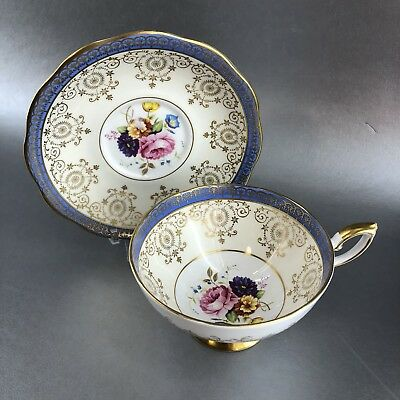 Vintage Royal Standard Blue Floral Bone China Teacup & Saucer Gold England
