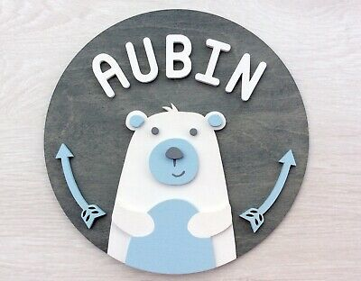 PERSONALISED NAME BEAR PLAQUE DOOR SIGN  boy baby cute wooden wall art