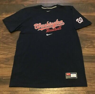 b27f0cd03a5 Nike Team Mlb Washington Nationals Classic Script Spellout Logo Baseball  T-Shirt