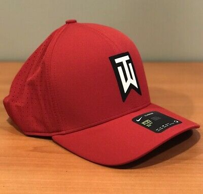 44c22c96ecb5ee NIKE TW TIGER Woods Aerobill Classic 99 Fitted Golf Hat Red/Black L ...