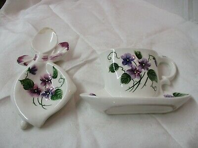 Vintage Lefton hand painted Wall Pocket & Spoon Rest #2894 2893