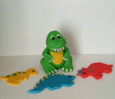 BABY T REX DINOSAUR and 6 flat dinosaur shapes edible cake topper decoration