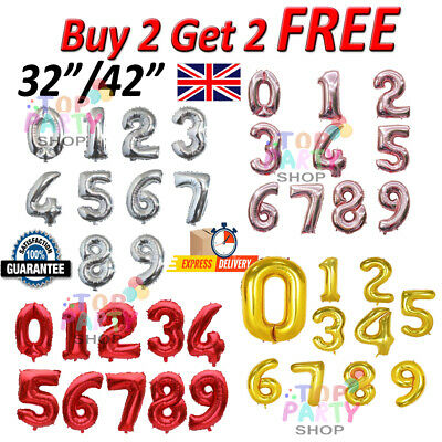 """32"""" 40"""" Giant Foil Number Balloons letter Air/Helium Birthday Age Party Wedding"""