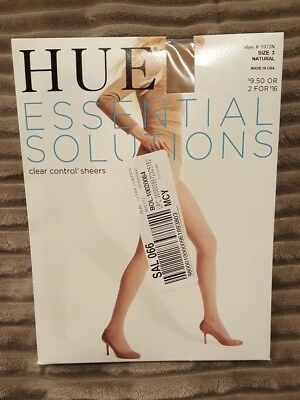 HUE Essential Solutions Clear Control Top Pantyhose Sz 3 Natural NWT