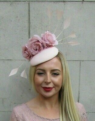 Blush Nude Light Pink Rose Feather Flower Pillbox Hat Hair Fascinator Races 7118