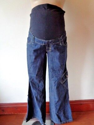 Mamas & Papas Maternity Blue Over Bump Roll Up Cargo Slouch Jeans Size 6 Long