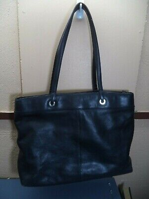 """DKNY Large Handbag Black Simulated Leather 15"""" x 11"""" x 3"""", 3 Compartments VGC"""