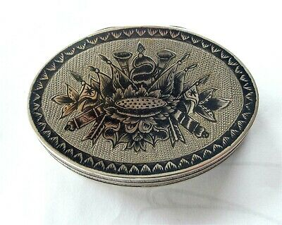 Antique Russian Sterling Silver Niello Snuff Box Military Canons Flags 1800'S