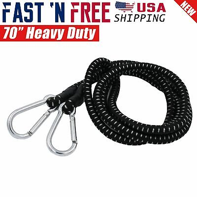 """70"""" inch Extra Long Heavy Duty Bungee Cord Black with Carabiner Hooks Bulk"""