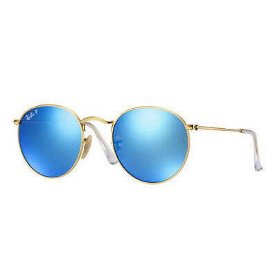 RayBan Round Metal POLARIZED Sunglasses - Gold Blue Flash 3447 112/4L 50-21