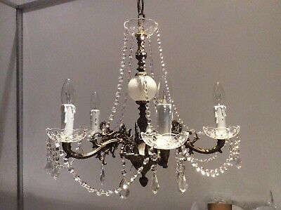 Antique Gilded Cast Metal and Lead Crystals 5-arm French Chandelier, c1920s.