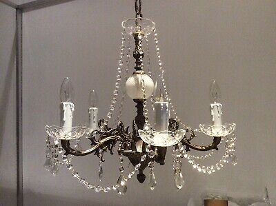 Fabulous Antique Gilded Cast Metal and Crystals 5-arm French Chandelier, c1920s.