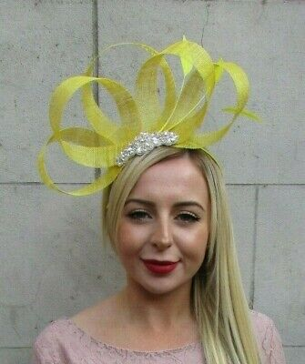 Bright Yellow Silver Feather Hair Fascinator Sinamay Races Ladies Day Hat 7122