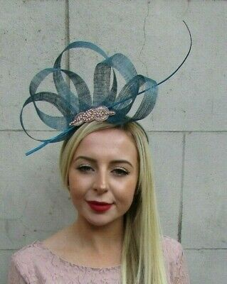 Teal Blue Rose Gold Feather Fascinator Sinamay Silver Wedding Races Hair 7123