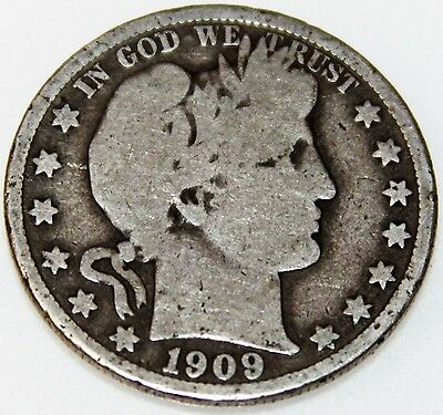 1909-P 50C Barber Half Dollar, 17act2108 90% Silver 50 Cents Shipping