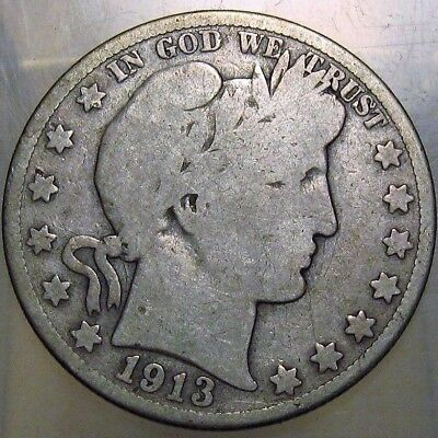 1913-S 50C Barber Half Dollar, 17lcct0810 90% Silver, 50 Cents Shipping