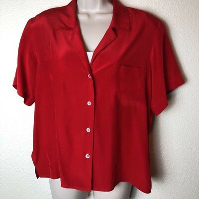 95950648 NORDSTROM TOWN SQUARE Womens Red Silk Vintage 90s Button Down Blouse ...