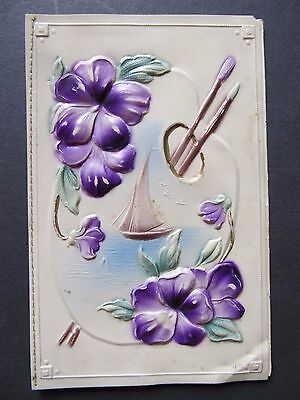 Lovely Vintage flower card - Celluloid plastic embossed and paper card back