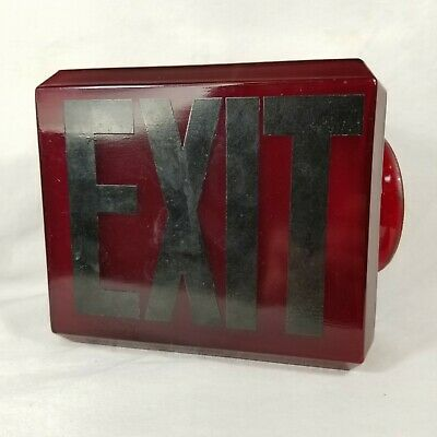 Vintage EXIT Sign Lamp Light Theater Art Deco Red Glass Globe Fixture 4 of 5