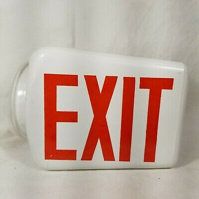 Vintage EXIT Sign Lamp Light Theater Art Deco Glass Globe Fixture 5 of 5