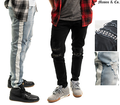 5e0ff06636a9 Mens Black Ripped Skinny Moto Jean Distressed Hipster Track Pants Mason ...