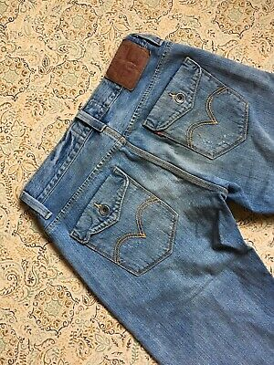 Levi's Slim Straight 514 Men's Blue Jeans Size 31x30 Guys Casual Wear Distressed