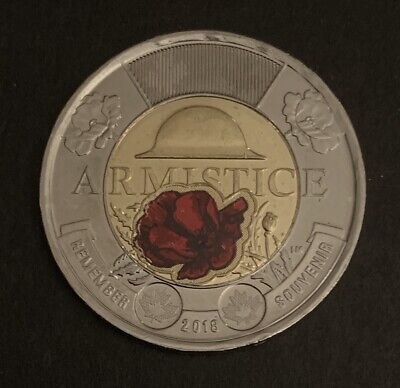 2018 - Armistice TOONIE 2$, Two Dollar Coin Red Colour Canada Uncirculated