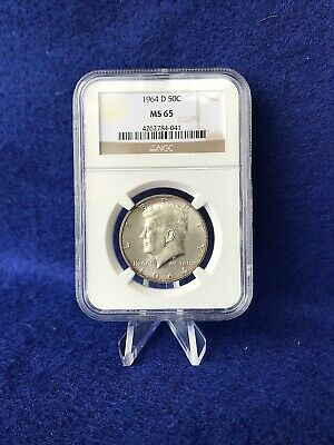 1964-D NGC MS 65 Kennedy 90% Silver Half Dollar 50c *Gem Brilliant Uncirculated*