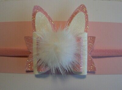 Nylon Newborn/Baby/Toddler/Girl Headband With Pink & White Easter Bunny Ear Bow