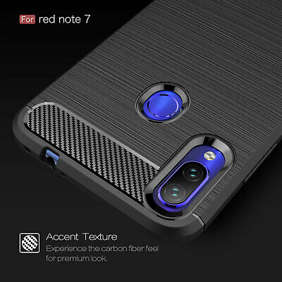 For Xiaomi Redmi Note 7, Shockproof Hybrid Carbon Fiber TPU Rubber Cover Case