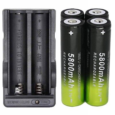 4X 18650 Battery Li-ion 3.7V Rechargeable 5800mAh + Charger For Flashlight Light