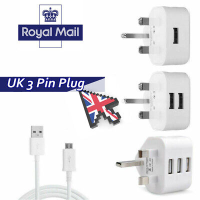 UK 3 Pin Plug Adaptor Mains Wall Travel Charger Charging USB Cable For Phones