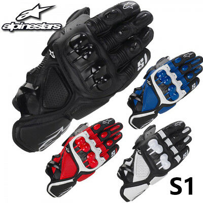 Alpinestars Motorcycle Gloves S1 Genuine Leather Gloves All Sizes & Colors