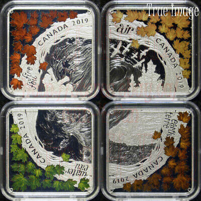 2019 - The Elements - Fire Air Earth Water - 4X$3 Pure Silver Square-Shaped Coin