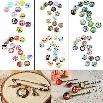 "0.47"" Clear Glass Cabochon Dome Round Shape Ideal for DIY 10/50pcs 26 Patterns"