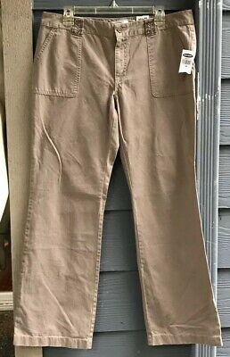 Old Navy Women Pants Sz 12 Tan Beige 4 Pockets Embellished Jewelled Relaxed NWT