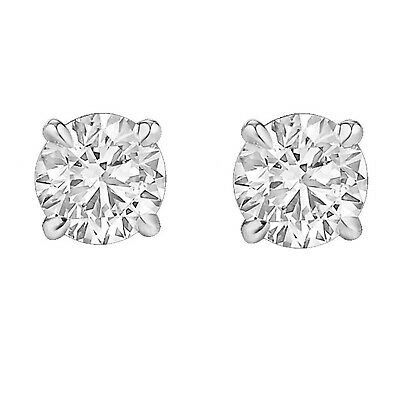 1/5ct Genuine Round Cut Diamond 14k Solid White/Yellow Gold Stud Earrings