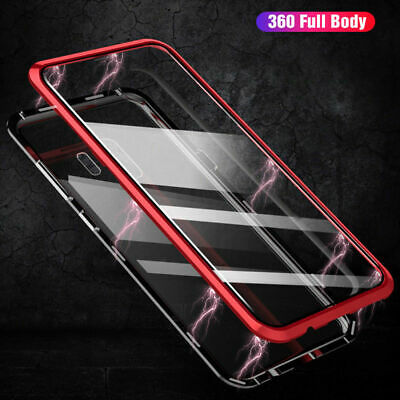 Magnetic Adsorption Metal Case For Samsung S9 S9+ Note 9 Tempered Glass Cover