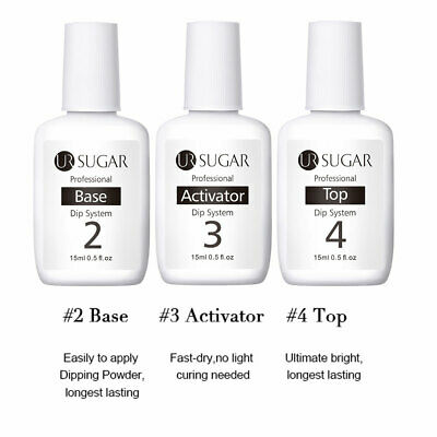 3 Bottles UR SUGAR 15ml Dipping Liquid System Top Base Activator  Tools