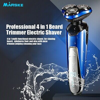 Mens Professional 4 in 1 LCD Electric 3D Shaver Razor Beard Trimmer Rechargeable