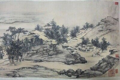 """Very Long Old Chinese Scroll Hand Painting Landscape Calligraphy Marked """"WuHong"""""""