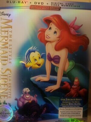 Disney Little Mermaid Anniversary Ed Blu-ray + DVD Canada w Slip Cover Art LOOK