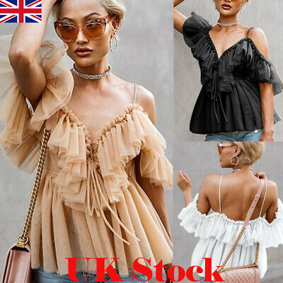UK Women V Neck Strappy Tops Ruffle Frill Sexy Ladies Off Shoulder Blouse Shirt